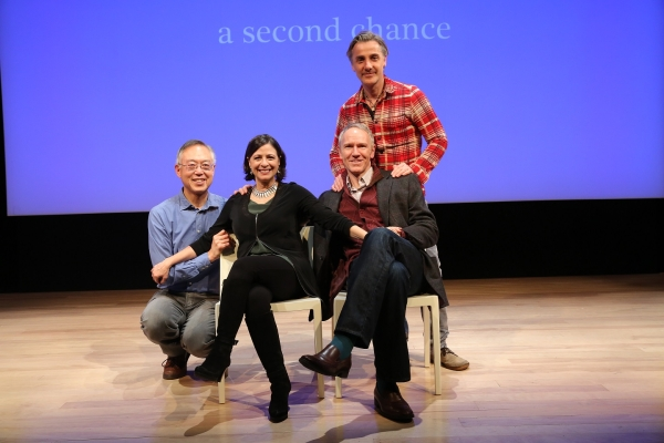 A Second Chance writer Ted Shen (far left), with cast members Diane Sutherland and Brian Sutherland, and director Jonathan Butterell (standing).