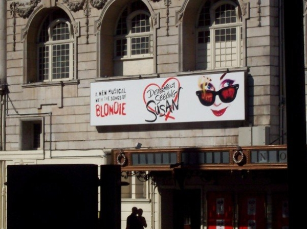 The signage for Desperately Seeking Susan, the musical, outside London's Novello Theatre in 2007.
