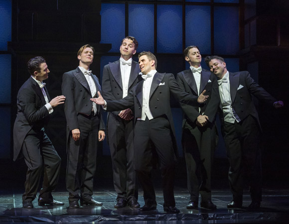 Matt Bailey, Will Taylor, Douglas Williams, Shayne Kennon, Chris Dwan and Will Blum in Harmony, directed by Tony Speciale, at the Ahmanson Theatre.