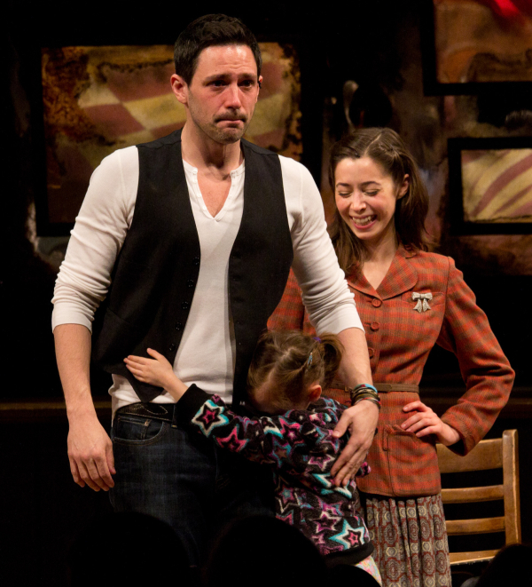 Steve Kazee takes a tearful bow on the opening night of Once on March 18, 2012 at the Bernard B. Jacobs Theatre.