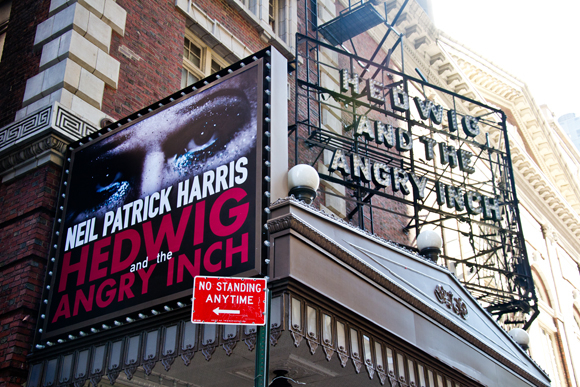 The Hedwig and the Angry Inch marquee on the side of the Belasco Theatre.