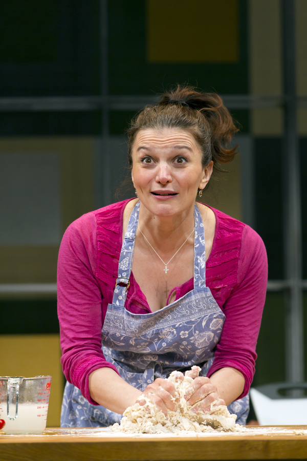 Antoinette LaVecchia gets serious in the kitchen as Giulia Melucci in I Loved, I Lost, I Made Spaghetti, directed by Rob Ruggiero, at George Street Playhouse.