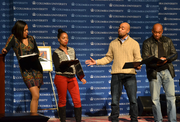 De'Adre Aziza, Michelle Wilson, Francois Battiste, and Marc Damon Johnson perform an excerpt from Detroit '67.