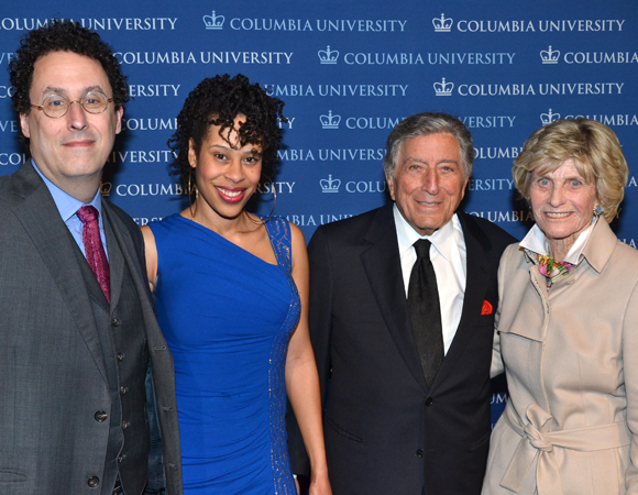 Tony Kushner, Tony Bennett, and Ambassador Jean Kennedy Smith join playwright Dominique Morisseau for a group photo.
