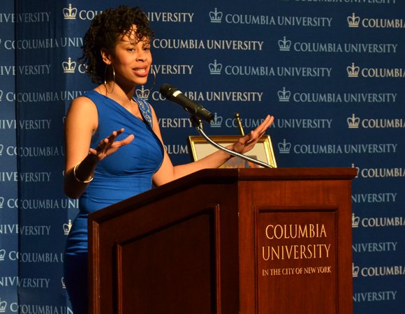 Dominique Morisseau accepts the Edward M. Kennedy Prize for Drama Inspired by American History.