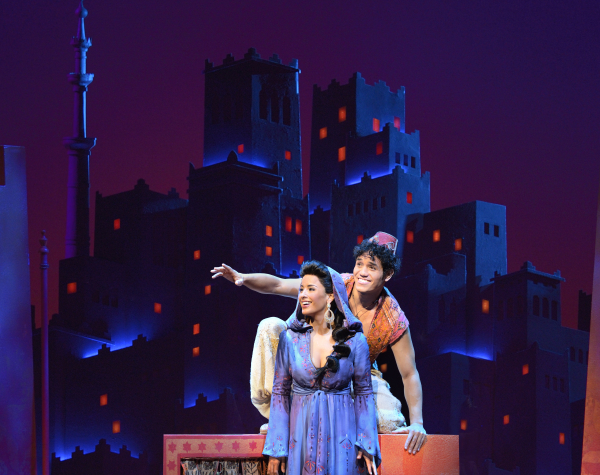 Adam Jacobs and Courtney Reed play Aladdin and Princess Jasmine in the Broadway adaptation of Disney's Aladdin, directed and choreographed by Casey Nicholaw, at the New Amsterdam Theatre.