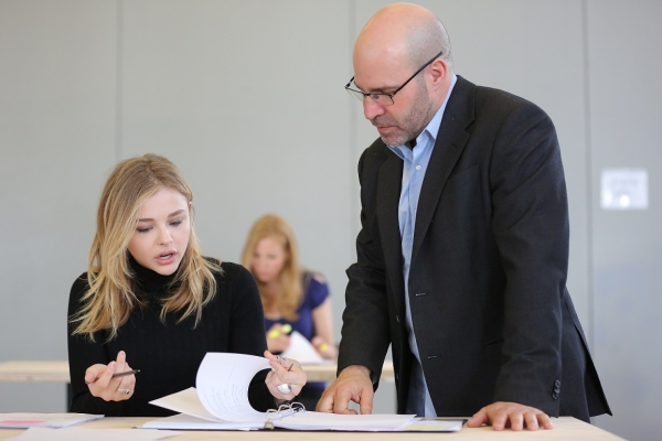 The Library playwright Scott Z. Burns (right) goes over his script with star Chloë Grace Moretz.