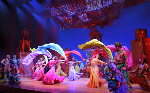 "The cast of Disney's Aladdin, directed and choreographed by Casey Nicholaw, dazzles the audience of the New Amsterdam Theatre with ""Arabian Nights."""