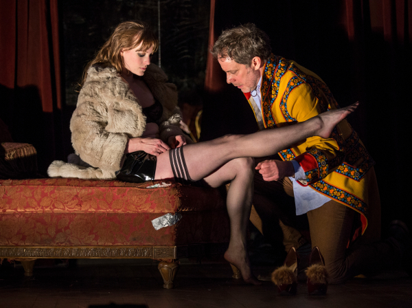 Amanda Drinkall and Rufus Collins in Venus in Fur at the Goodman Theatre, directed by Joanie Schultz.