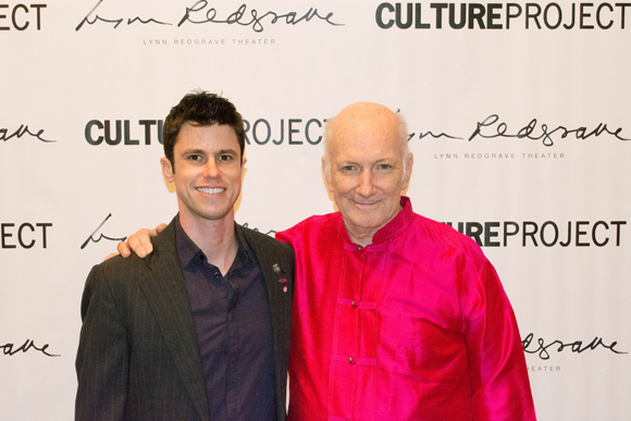 Dan Hoyle celebrates his opening night with The Culture Project Artistic Director Allan Buchman.