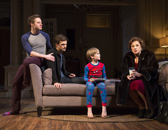 (l to r) Bobby Steggert and Frederick Weller as married couple Will and Cal, Grayson Taylor as their son, Bud, and Tyne Daly as Katharine in Terrence McNally's Mothers and Sons, directed by Sheryl Kaller, at Broadway's John Golden Theatre.