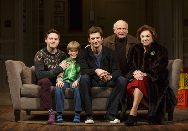 Bobby Steggert, Grayson Taylor, Frederick Weller, playwright Terrence McNally, and Tyne Daly sit for a family portrait on the Broadway set of McNally's Mothers and Sons.