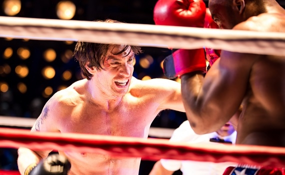 Andy Karl as Rocky and Terence Archie as Apollo Creed in the new Broadway musical Rocky at the Winter Garden Theatre.