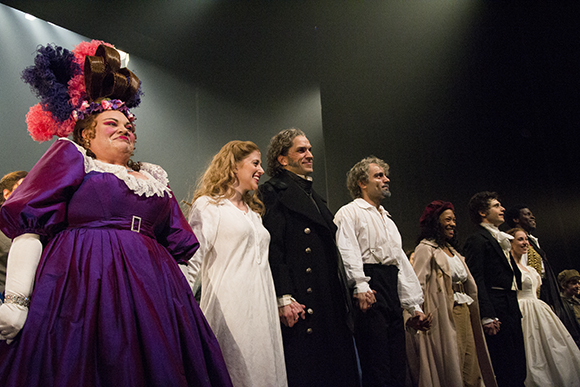 Keala Settle, Caissie Levy, Will Swenson, Ramin Karimloo, Nikki M. James, Andy Mientus, Samantha Hill, and Kyle Scatliffe take their curtain call on the opening night of Les Misérables at the Imperial Theatre.