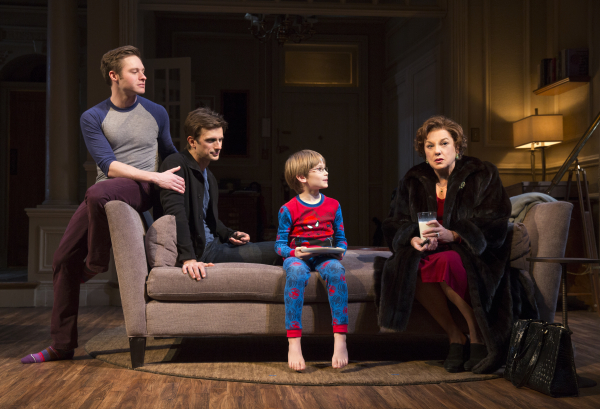 Bobby Steggert as Will, Frederick Weller as Cal, Grayson Taylor as Bud, and Tyne Daly as Katharine in Terrence McNally's Mothers and Sons, directed by Sheryl Kaller, at the Golden Theatre.