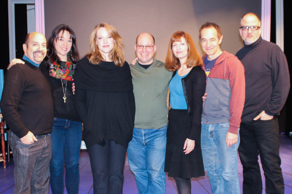 The cast and creative team of Inventing Mary Martin pose for a group photo: David Krane (music supervisor), Cameron Adams, Emily Skinner, Stephen Cole (writer/director), Lynn Halliday, Jason Graae, and Bob Richard (codirector/choreographer).