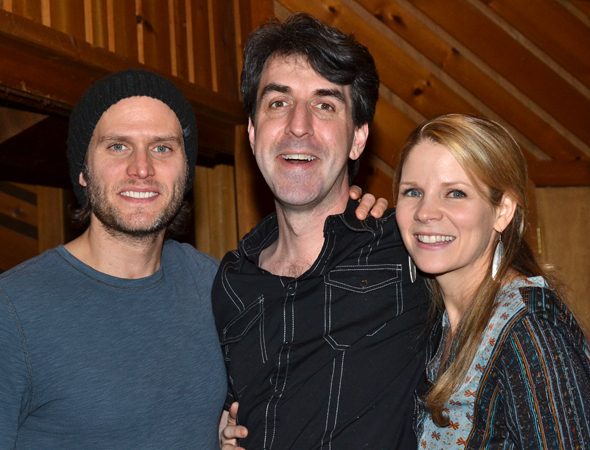 The Bridges of Madison County stars Steven Pasquale and Kelli O'Hara flank Tony-winning composer Jason Robert Brown in the recording studio.