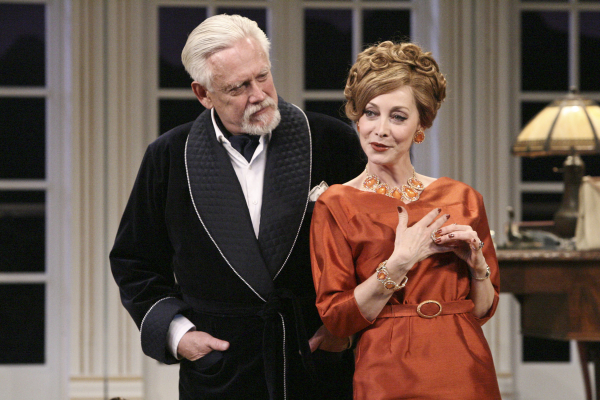Bruce Davison as Sir Hugo Latymer and Sharon Lawrence as Carlotta in A Song at Twilight, directed by Art Manke, at Pasadena Playhouse.