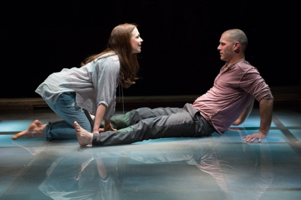 """Laura C. Harris and Elan Zafir as """"Woman"""" and """"Man"""" in Tender Napalm, directed by Matthew Gardiner, at Virginia's Signature Theatre."""