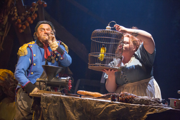 Cliff Saunders as Thénardier and Keala Settle as Madame Thénardier in the 2014 Broadway revival of Les Misérables at the Imperial Theatre.