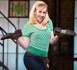 Jeanna de Waal plays Lauren, an employee in Charlie's shoe factory, in Kinky Boots on Broadway.