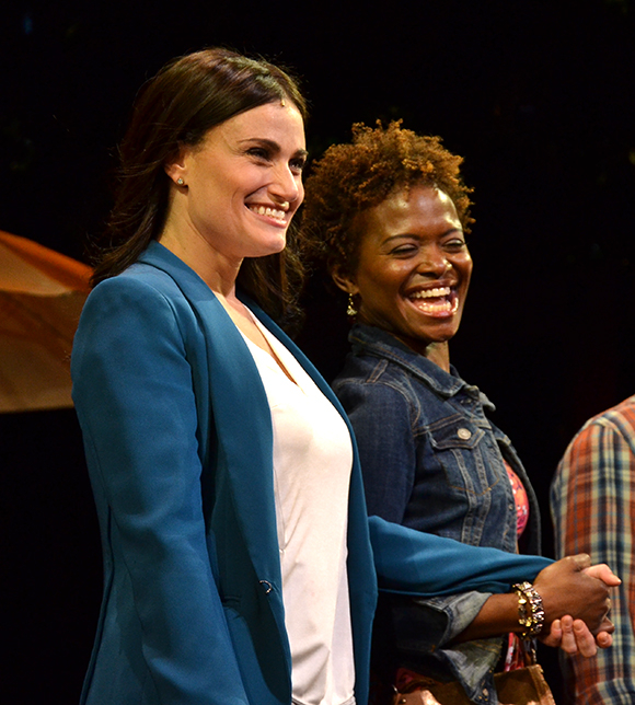 Idina Menzel and LaChanze share a moment as they take a bow on the opening night of If/Then at the Richard Rodgers Theatre.