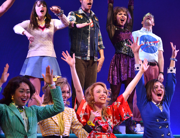 The cast of Heathers: The Musical during the show's grand finale song at New World Stages.