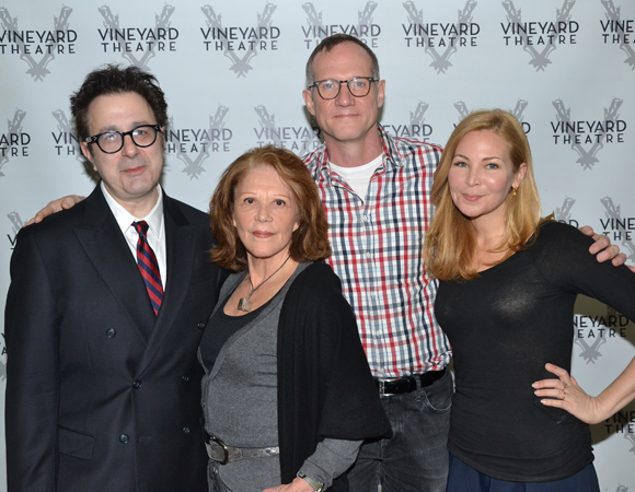 Playwright Nicky Silver, Linda Lavin, Director Mark Brokaw, and Jennifer Westfeldt of Too Much Sun, which begins previews at the Vineyard Theatre May 1.
