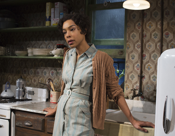 Sophie Okonedo plays Ruth Younger in Kenny Leon's production of Lorraine Hansberry's A Raisin in the Sun at the Ethel Barrymore Theatre.