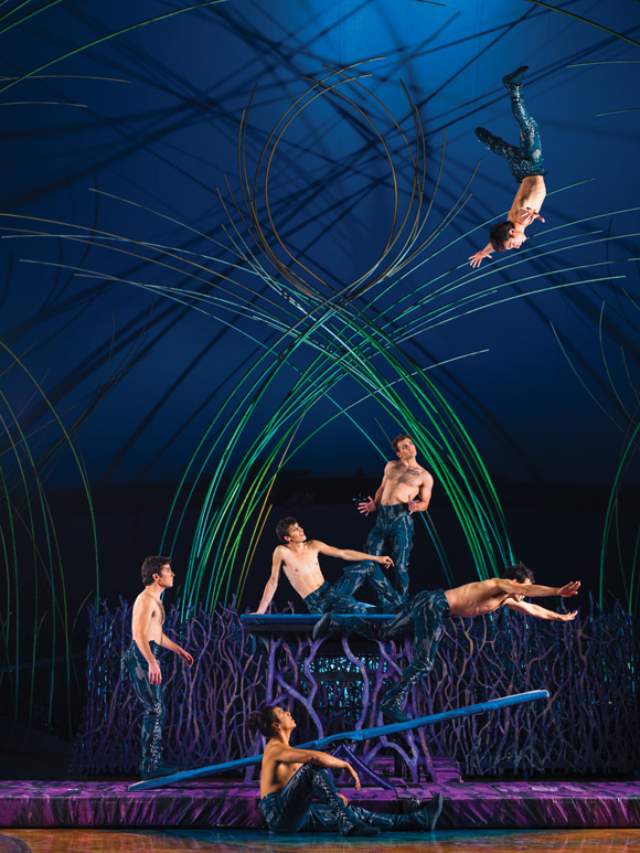 Acrobats launch into the rafters in the gravity-defying teeterboard act in Cirque du Soleil's Amaluna, directed by Diane Paulus, at Citi Field.