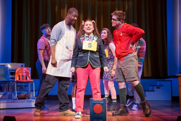 Vishal Vaidya, Kevin McAllister, Kristen Garaffo, Carolyn Agan, and Vincent Kempski in The 25th Annual Putnam County Spelling Bee, directed by Peter Flynn, at Washington, D.C.'s Ford's Theatre.