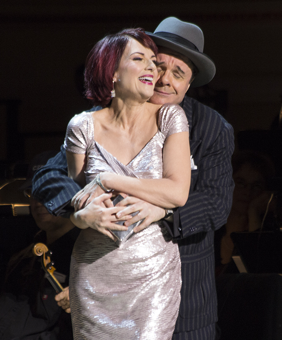 Megan Mullally and Nathan Lane as Adelaide and Nathan in Jack O'Brien's production of Guys and Dolls at Carnegie Hall.