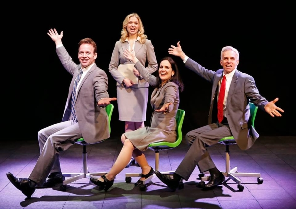 James Donegan, Julia Burrows, Stephanie D'Abruzzo, and Neal Mayer in Michael Roberts' Greed: A Musical for Our Times, directed by Christopher Scott, at New World Stages.