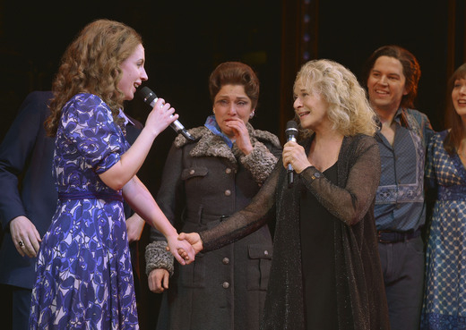 Jessie Mueller and Carole King share a duet onstage after the April 3 performance of Beautiful — The Carole King Musical at the Stephen Sondheim Theatre.