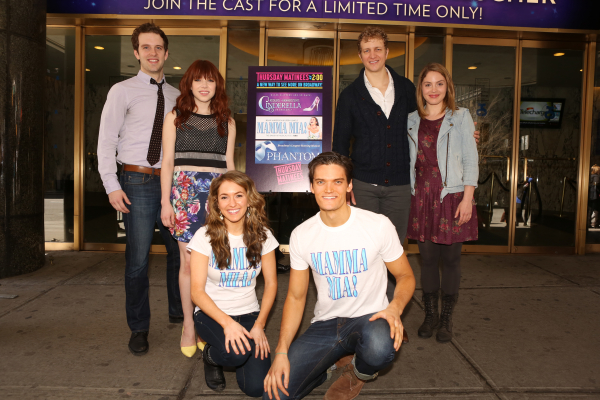 Joe Carroll, Carly Rae Jepsen, Elena Ricardo, Jon Jorgenson, Jeremy Hays, and Mary Michael celebrate the launch of Thursday matinees in front of the Broadway Theater.