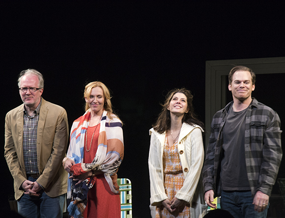 Tracy Letts, Toni Collette, Marisa Tomei, and Michael C. Hall take their curtain call on the opening night of The Realistic Joneses at the Lyceum Theatre.