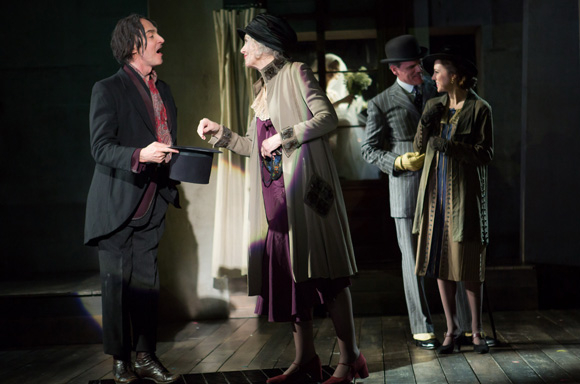 John Kelly, Mary Beth Peil, Michael Park, and Laura Osnes star in the revival of The Threepenny Opera, directed by Martha Clarke, at Atlantic Theater Company.