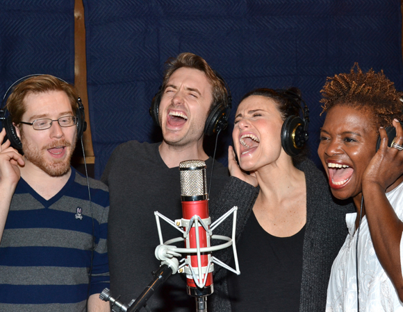 Anthony Rapp, James Snyder, Idina Menzel, and LaChanze lay down a track for the If/Then cast album.