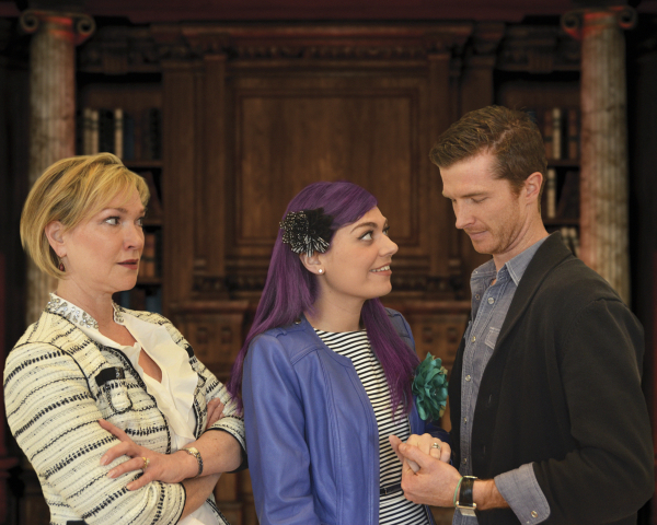 Amelia Broome as Eve, Sasha Castroverde as Claudine, Joe Short as Henry in Victoria Stewart's Rich Girl, directed by Courtney O'Connor, at Lyric Stage Company of Boston.
