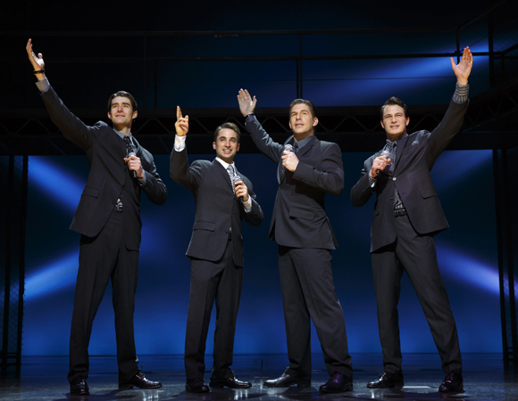 The current cast of Jersey Boys at the August Wilson Theatre is led by Drew Gehling, Joseph Leo Bwarie, Richard H. Blake, and Matt Bogart