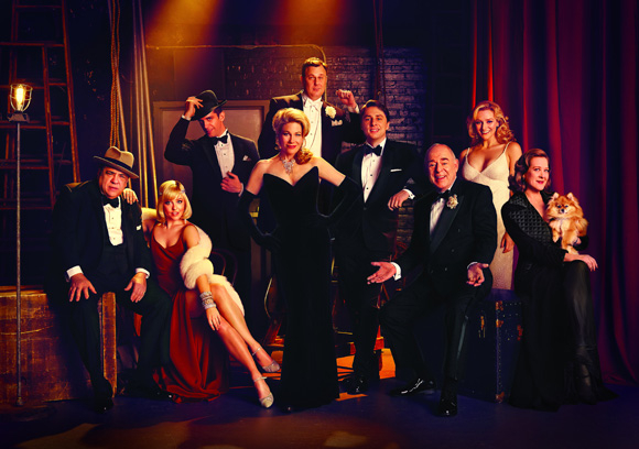 The cast of Woody Allen's Bullets Over Broadway, directed by Susan Stroman, at the St. James Theatre.