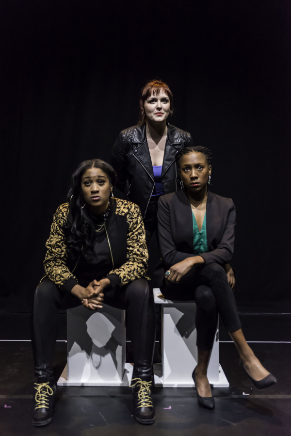 Emma Dennis Edwards, Chloe Massey, and Jade Anouka in the Brits Off Broadway production of Sabrina Mahfouz's Clean, directed by Orla O'Loughlin, at 59E59 Theaters.