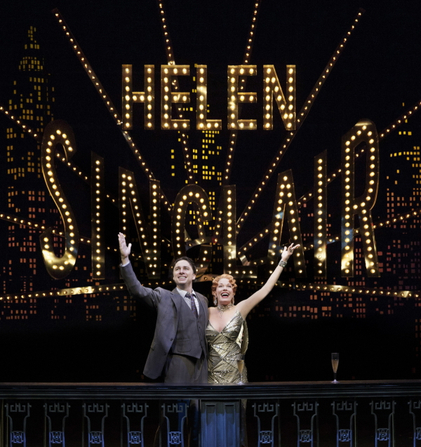 Zach Braff as David Shayne and Marin Mazzie as Helen Sinclair in Woody Allen's new musical Bullets Over Broadway, directed and choreographed by Susan Stroman, at the St. James Theatre.