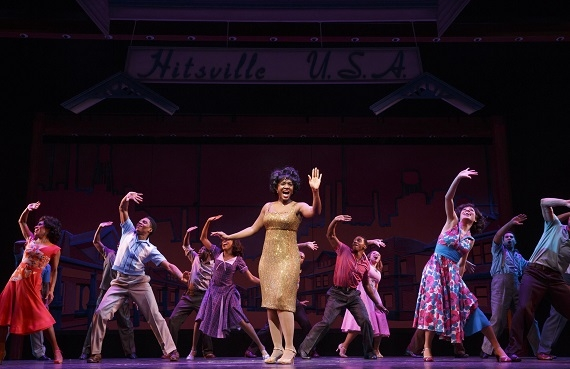 Saycon Sengbloh and the cast of Motown the Musical onstage at the Lunt-Fontanne Theatre.