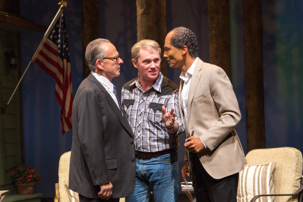 Ron Rifkin as Menachem Begin, Richard Thomas as Jimmy Carter, and Khaled Nabawy as Anwar Sadat in Camp David, directed by Molly Smith, at Washington, D.C.'s Arena Stage.