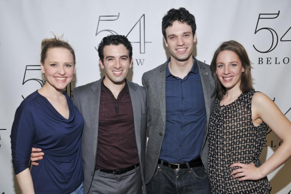 Beautiful cast members Anika Larsen, Jarrod Spector, Jake Epstein, and Jessie Mueller celebrate Spector's 54 Below concert.