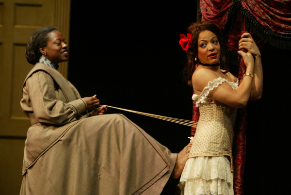 Viola Davis as Esther and Lauren Vélez as Mamie in the original off-Broadway production of Lynn Nottage's Intimate Apparel, directed by Daniel Sullivan.