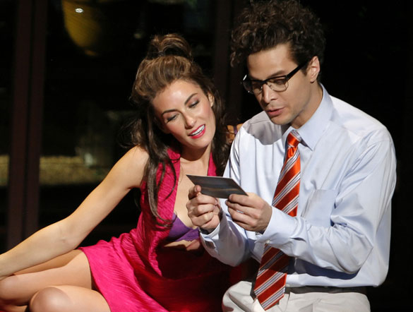 Laura Benanti with Justin Guarini, in his Broadway debut, the 2010 musical Women on the Verge of a Nervous Breakdown.