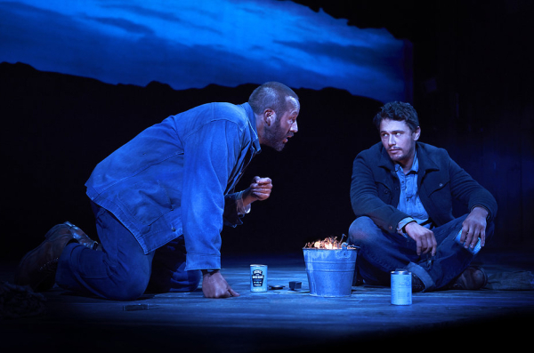 Chris O'Dowd and James Franco play migrant workers Lennie and George in John Steinbeck's Of Mice and Men, directed by Anna D. Shapiro, at Broadway's Longacre Theatre.