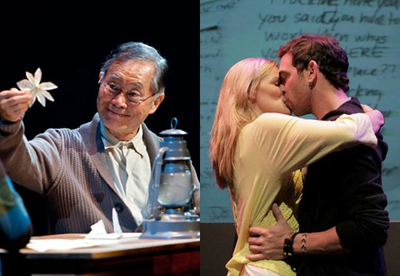 George Takei in Allegiance the Musical and Isabel Richardson and Matt Sax in Found, two plays which have utilized crowdfunding.